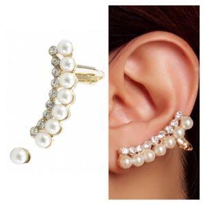 T&J Designs Jewelry - Lovely Faux Pearl Stud & Ear Crawler