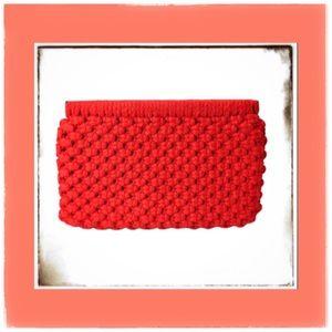 Vintage Red MACRAME Spring Top Clutch