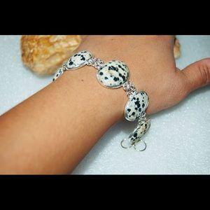 "handmade & handcrafted gemstone jewelry Jewelry - Statement Piece Spotted Dalmation Bracelet 925S 7"""