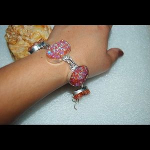 "handmade & handcrafted gemstone jewelry Jewelry - Orange-Peachy Drusy Bracelet 7""-8"" Adjustable"