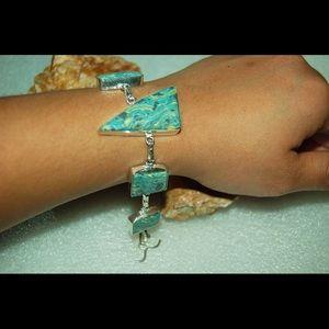 "handmade & handcrafted gemstone jewelry Jewelry - Beautiful Mosaic Howlite Bracelet 6 1/2"""