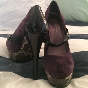 Jessica Simpson Purple Suede Snake Detail Pumps