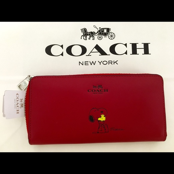 1258263ed3 New with Tags! Coach X Peanuts Snoopy Wallet (RED) NWT