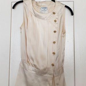 Chanel cream silk blouse small