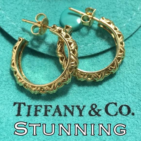 2190ab11a Tiffany & Co. Jewelry | Final Hp18k Gold Tiffany Co Hoop Earrings ...