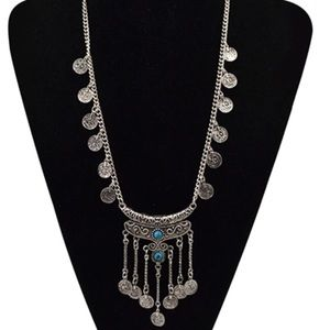 Long bohemian statement necklace