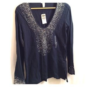 OLD NAVY Dark Blue Pullover Peasant Blouse Sequins