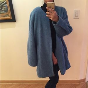 Fuzzy Blue Topshop Oversized Coat