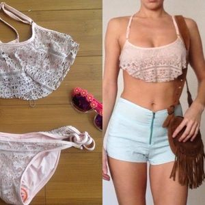 New Bettinis lace crochet baby pink scrunch bikini