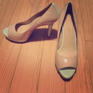 Mint and nude pumps