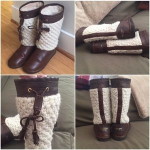 Michael Kors Leather and Knit Boots