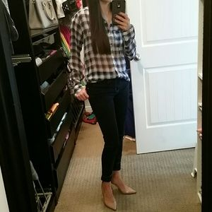 HOLLISTER BLUE PLAID SHEER SHIRT