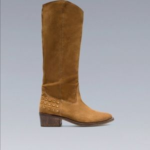 Zara beige leather cowboy boots