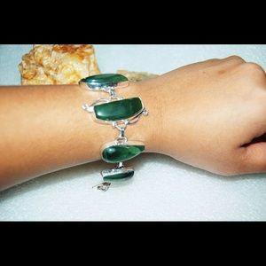 "Forest Green Moss Agate 925S Bracelet 6 1/2"""