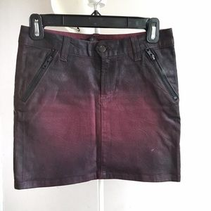 J Brand oxblood denim skirt