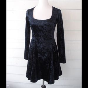 90s Crushed Velvet Skater Dress Small