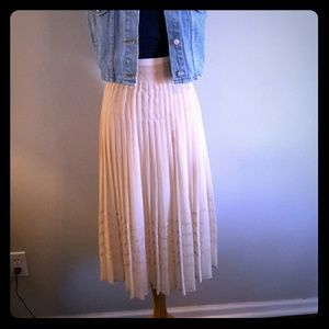 Vintage Sheer cream pleated skirt