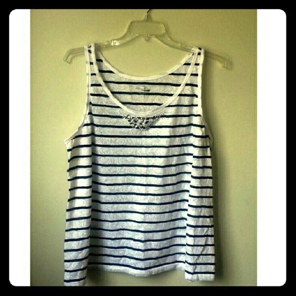 LANE BRYANT NWT Blue//White Striped Sleeveless Camisole Shirt Plus sz 18//20W