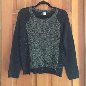 H&M black metallic knit sweater xs
