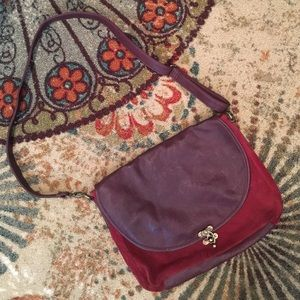 Suede/ Leather Maroon Messenger Bag