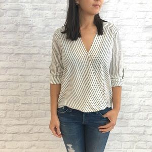 Ark & Co Tops - Ark & Co Striped Wrap Top