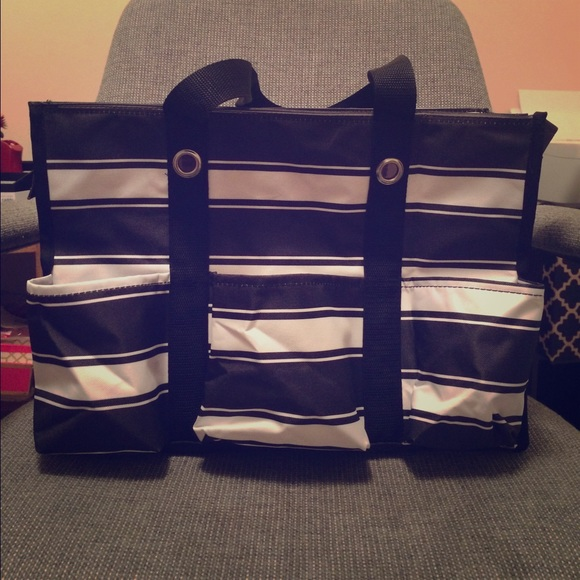 Thirty One Bags New Ribbon Stripe Ziptop Organizing Utility Tote