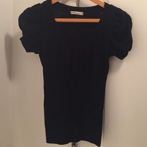 SM Black/Sparkly Short Sleeve Sweater Top