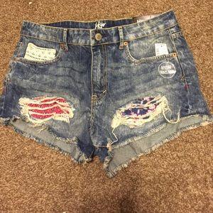 High waisted paisley print denim shorts