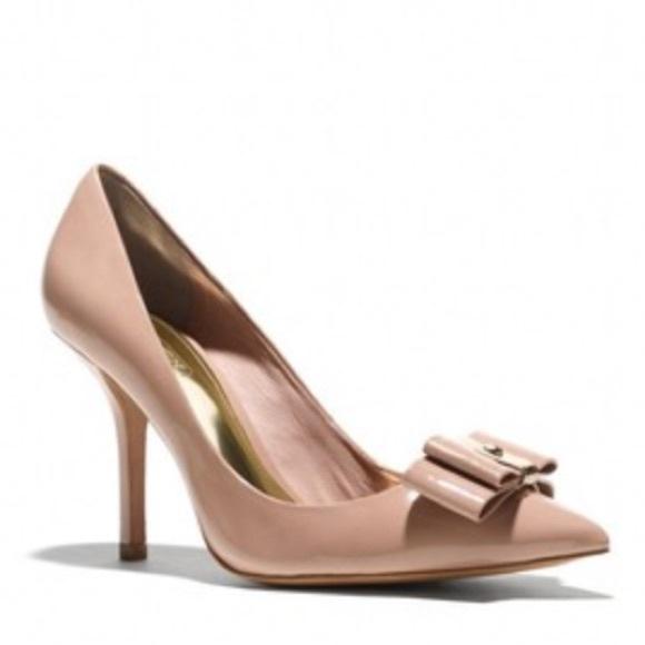 0c976cf67fe Coach Shoes - Coach Landrie Patent Warm Blush Nude Bow Pumps
