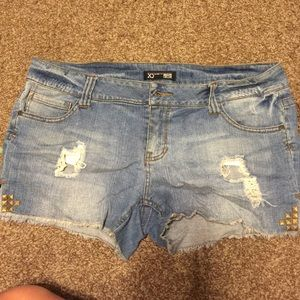 Denim studded jean shorts