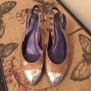 Vintage leather silver/gold metallic heels