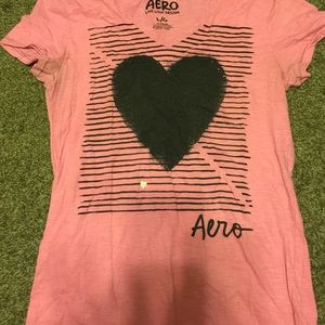 Pink heart and stripes Tshirt from aeropostale