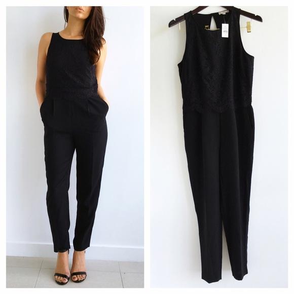 Ann Taylor Pants Nwt Loft Black Lace Jumpsuit Poshmark