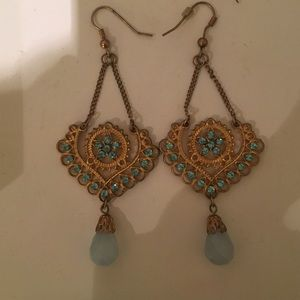 Blue and gold teardrop chandelier earring