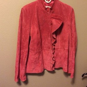 Worn once pink suede jacket
