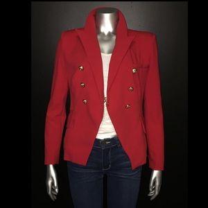 Red Blazer with gold buttons Zara Balmain style