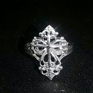 Cross .925 Sterling silver ring vintage