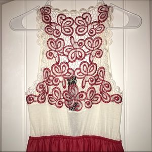 Red & Cream lace dress