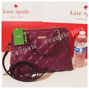 New Kate Spade quilted leather burgundy Satchel
