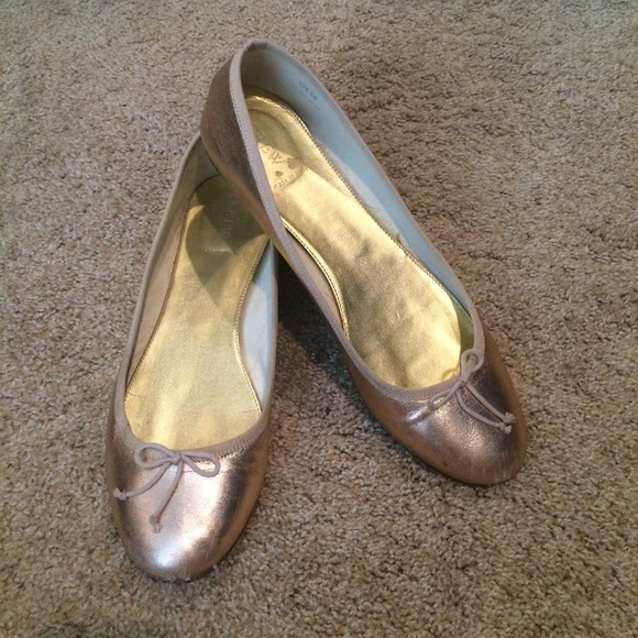 J. Crew Shoes - J. Crew Rose Gold Ballet Flats 8c7ab1ce6
