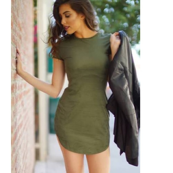 ee3b076653d8 WINDSOR Dresses | Suede Olive Short Sleeve Tshirt Dress | Poshmark