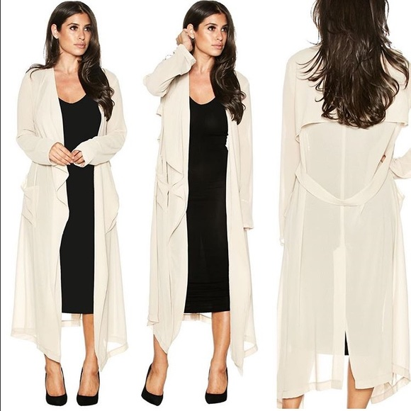66% off Jackets & Blazers - SMALL BEIGE NEW NUDE SHEER TRENCH COAT ...
