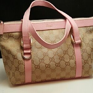 088d06972b5d Gucci Bags | Vintage Monogram And Pink Leather Handbag | Poshmark
