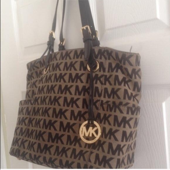 3018e940358f Michael Kors Bags | Tan And Black Mk Tote Purse | Poshmark