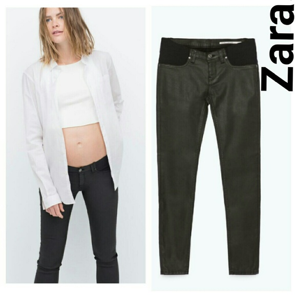 97% off Zara Denim - NEW Zara coated skinny jeans black MATERNITY ...