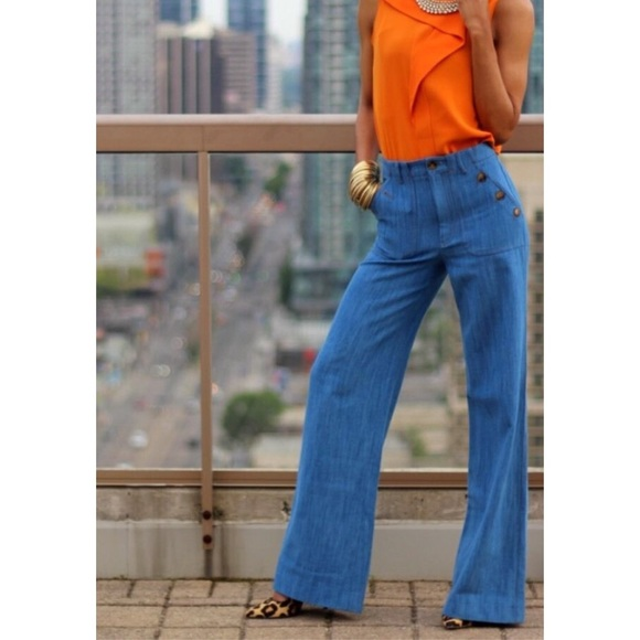 pick up picked up terrific value Zara High Waisted Wide Leg Denim Trousers NWT