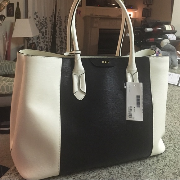 ad15c4320b72 NWT RLL BLACK AND IVORY COLORBLOCK TOTE BAG PURSE