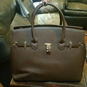 Brown Designer Inspired Handbag Tote