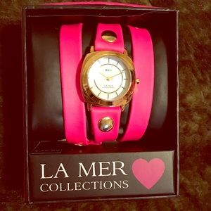 La Mer Collections Pink and Gold Wrap Watch