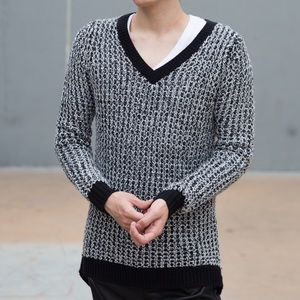 🖤Oversized Boyfriend Sweater Vneck White Waffle🖤